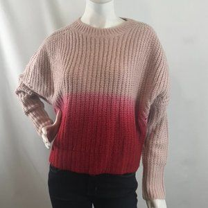 Design Lab Ombre Pink Chunky Cable Knit Sweater